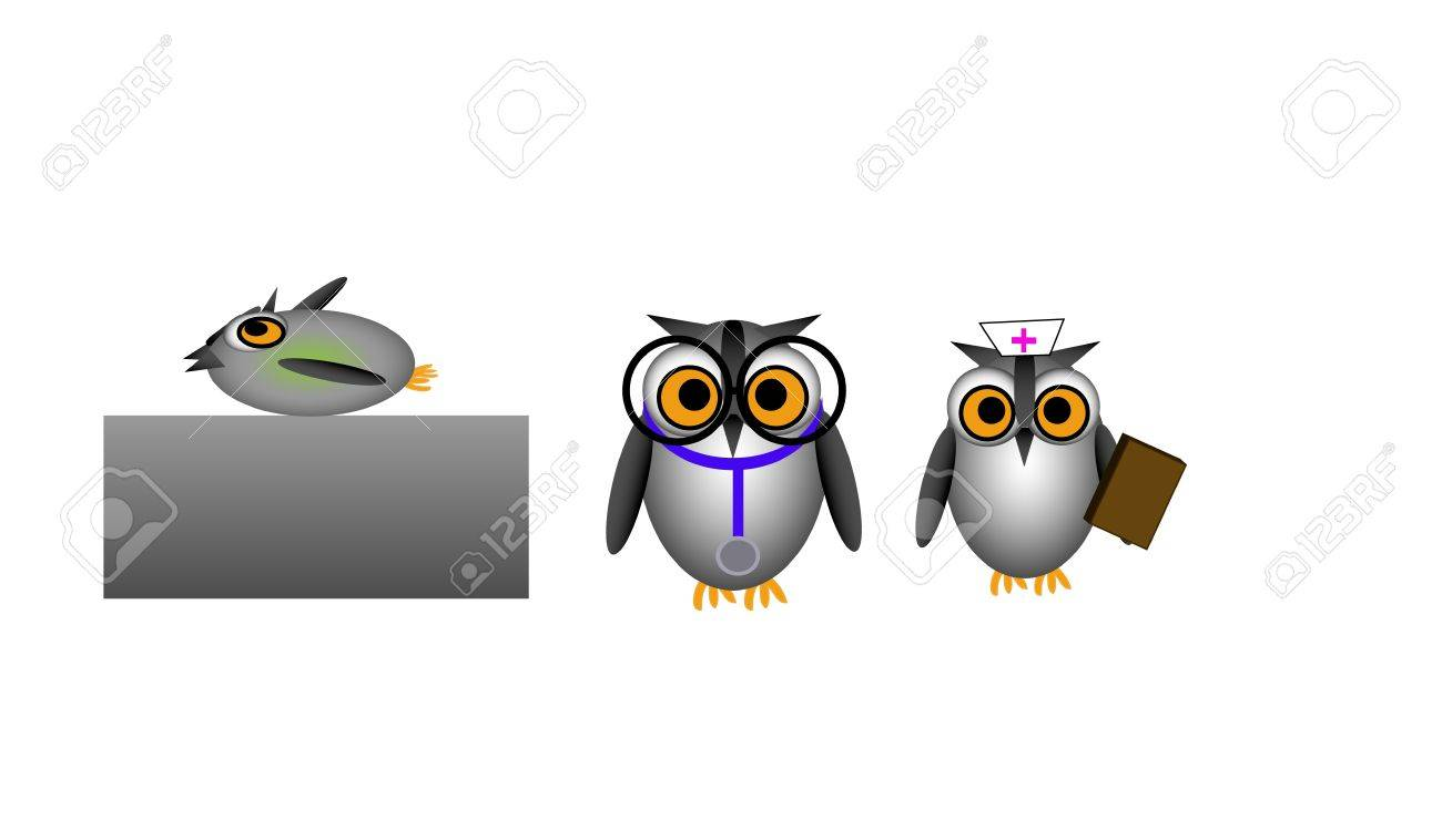 Vector illustration of doctor visit with owl characters. Nurse, doctor, and patient. Stock Vector - 19706707