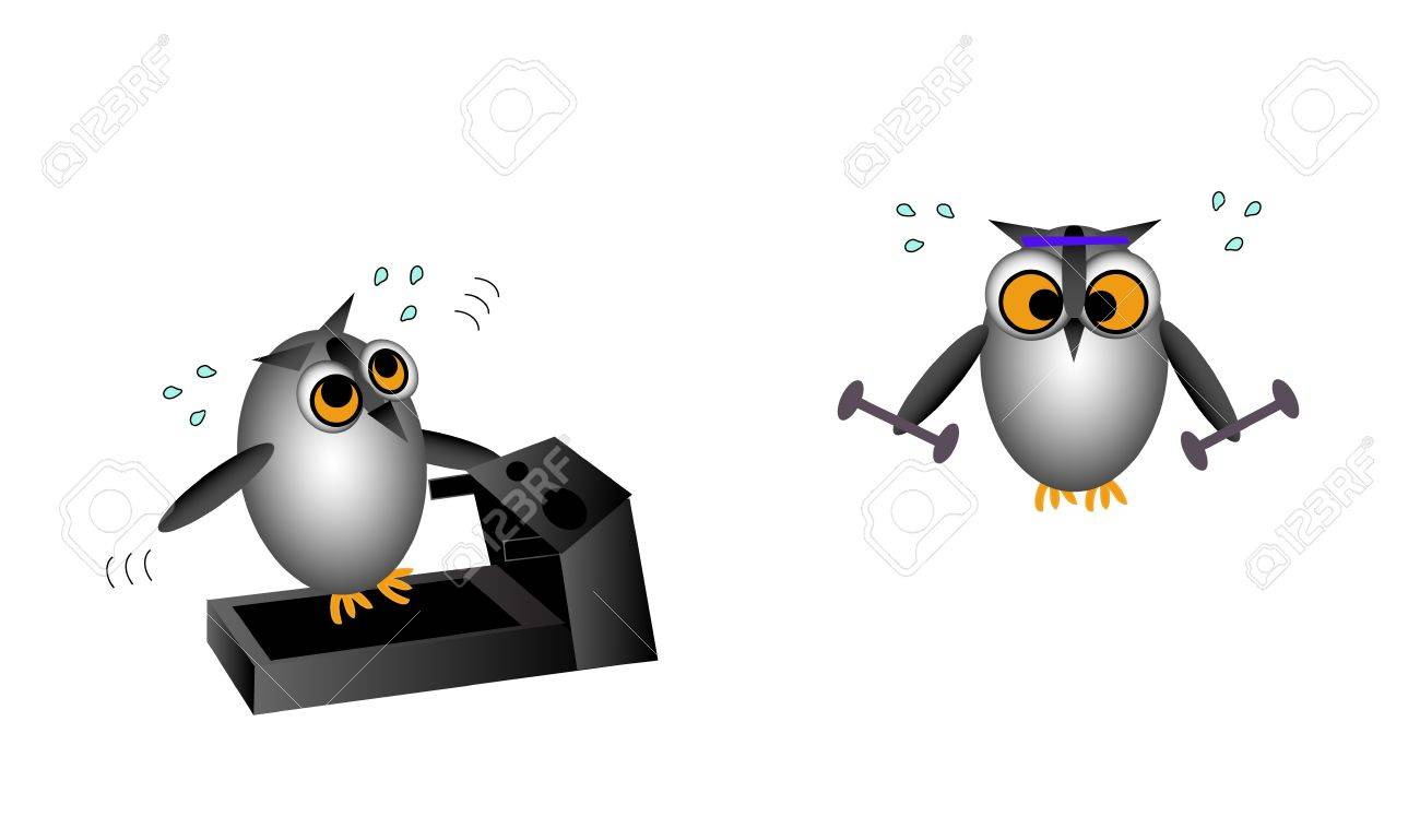 Vector illustration of two owl characters exercising. One is working up a sweat on the treadmill. The other is lifting weights. Stock Vector - 19706708