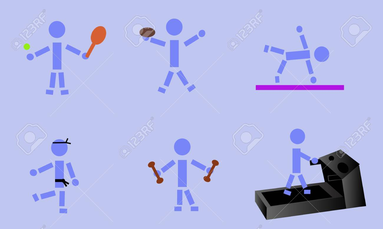 Stick figure demonstrating six different exercises. Stock Vector - 19708682