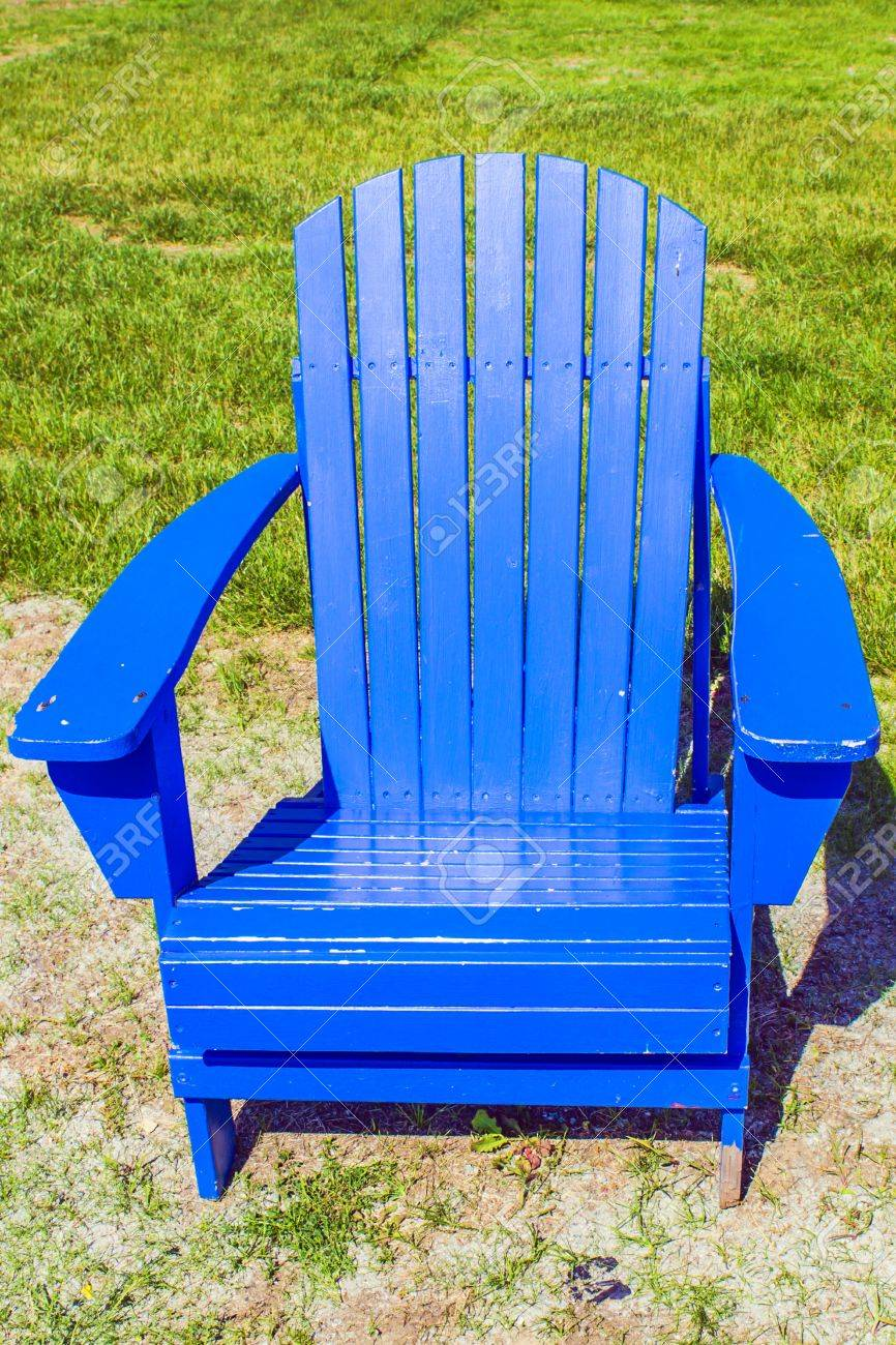 Single Bright Blue Adirondack Chair Stock Photo Picture And Royalty