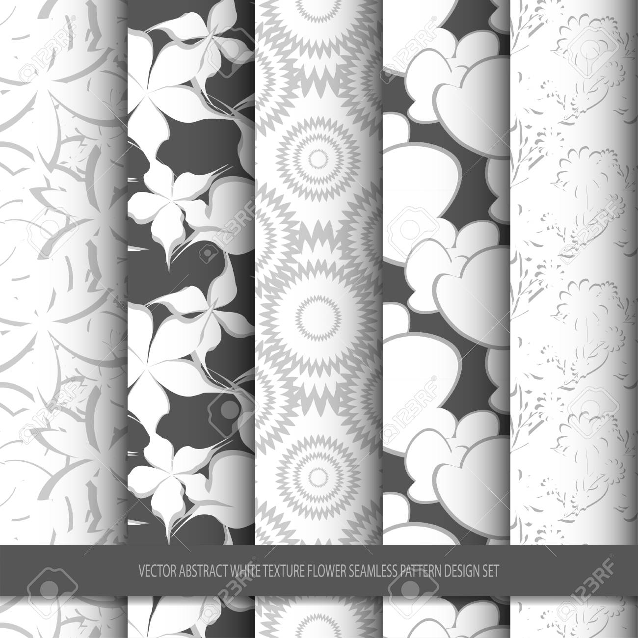Vector Abstract White Texture Flower Seamless Pattern Design Set