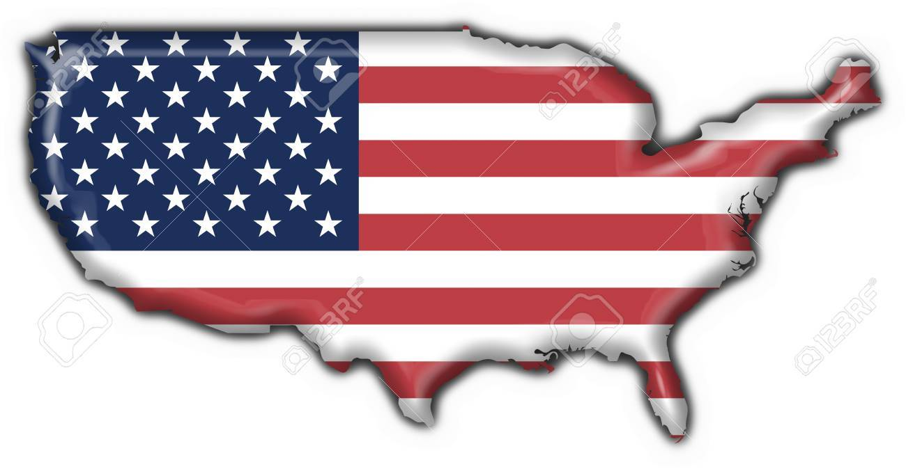 Usa American Button Flag Map Shape Stock Photo Picture And - Usa map shape
