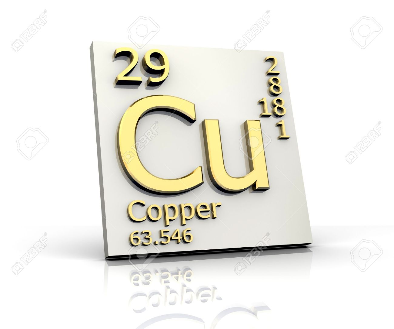 Copper form Periodic Table of Elements Stock Photo - 4315572