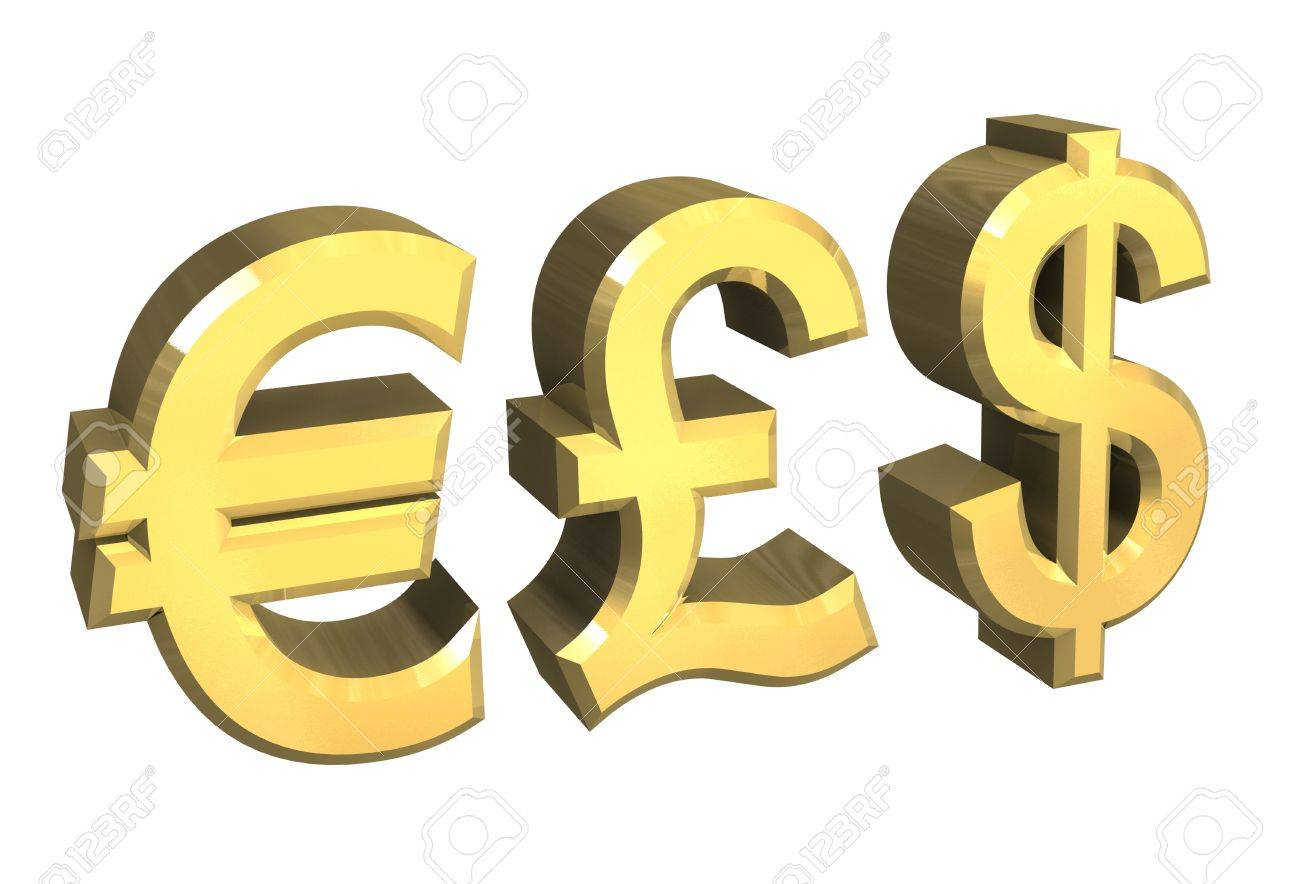 Euro Pound Dollar Symbol In Gold 3d Made Stock Photo Picture