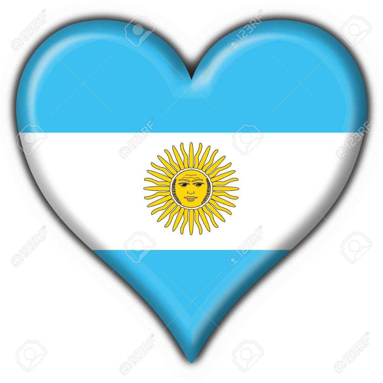Bandera Argentina Botón Forma Corazón Fotos Retratos Imágenes Y