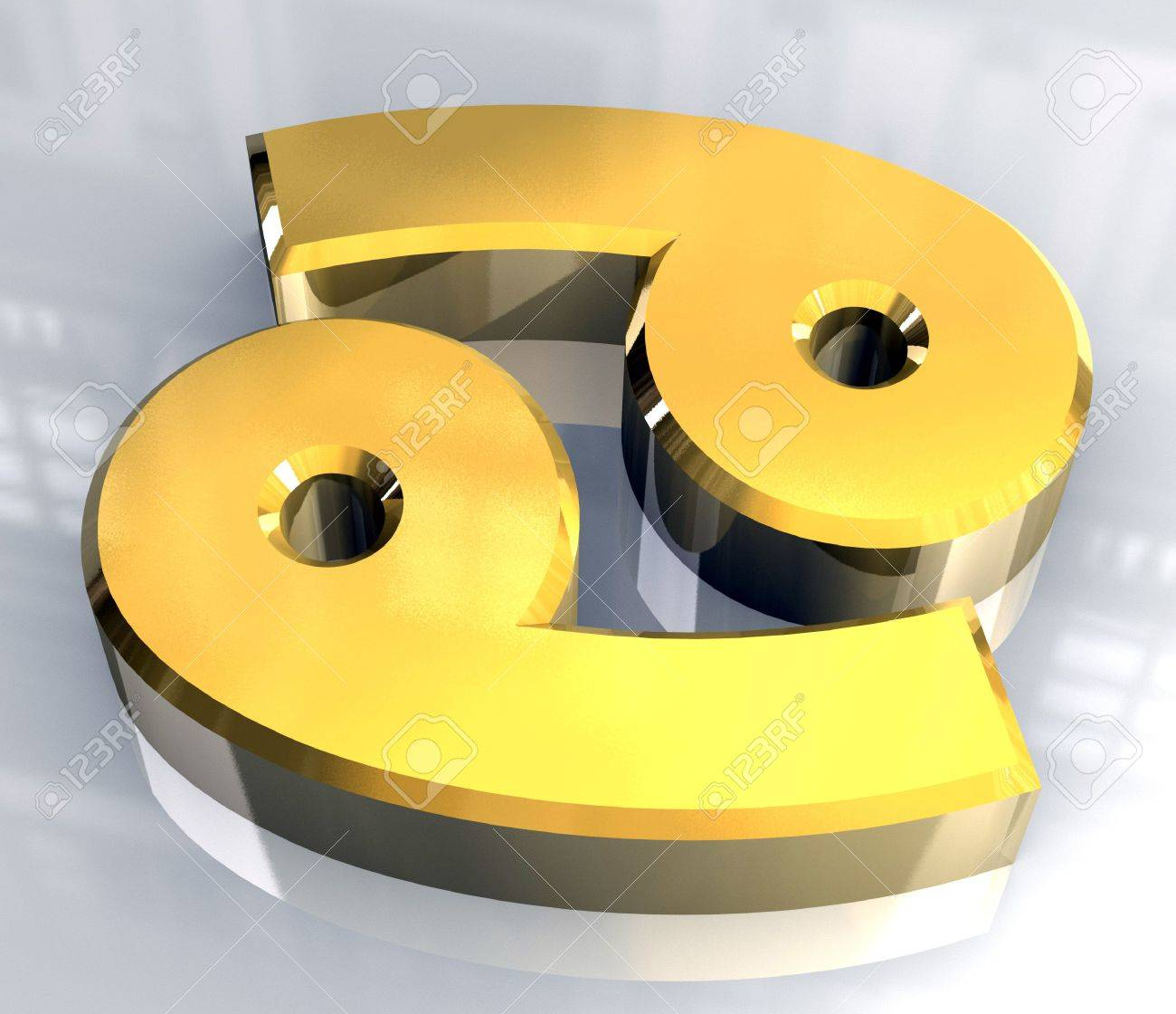 Cancer Astrology Symbol In Gold 3d Made Stock Photo Picture And