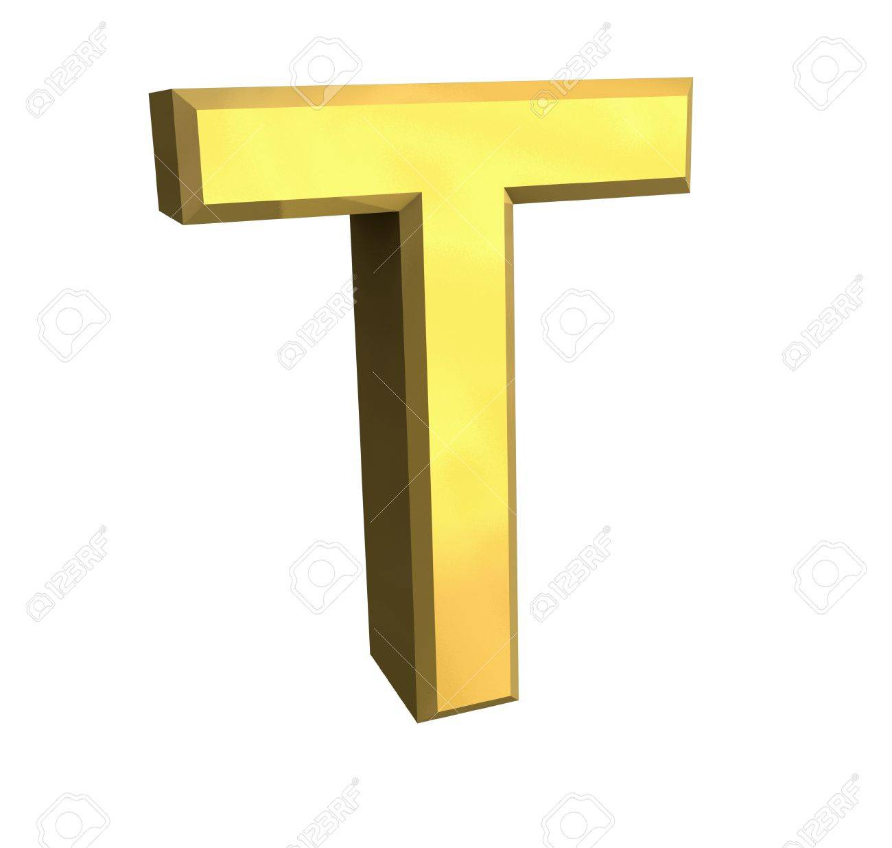 gold letter T - 3d made Stock Photo - 4758213