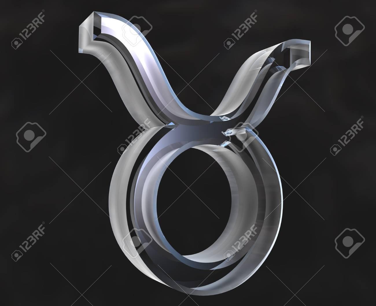 Taurus Astrology Symbol In Transparent Glass 3d Stock Photo