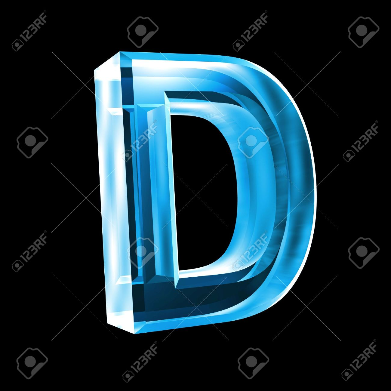 Letter D In Blue Glass 3D Stock Photo, Picture And Royalty Free