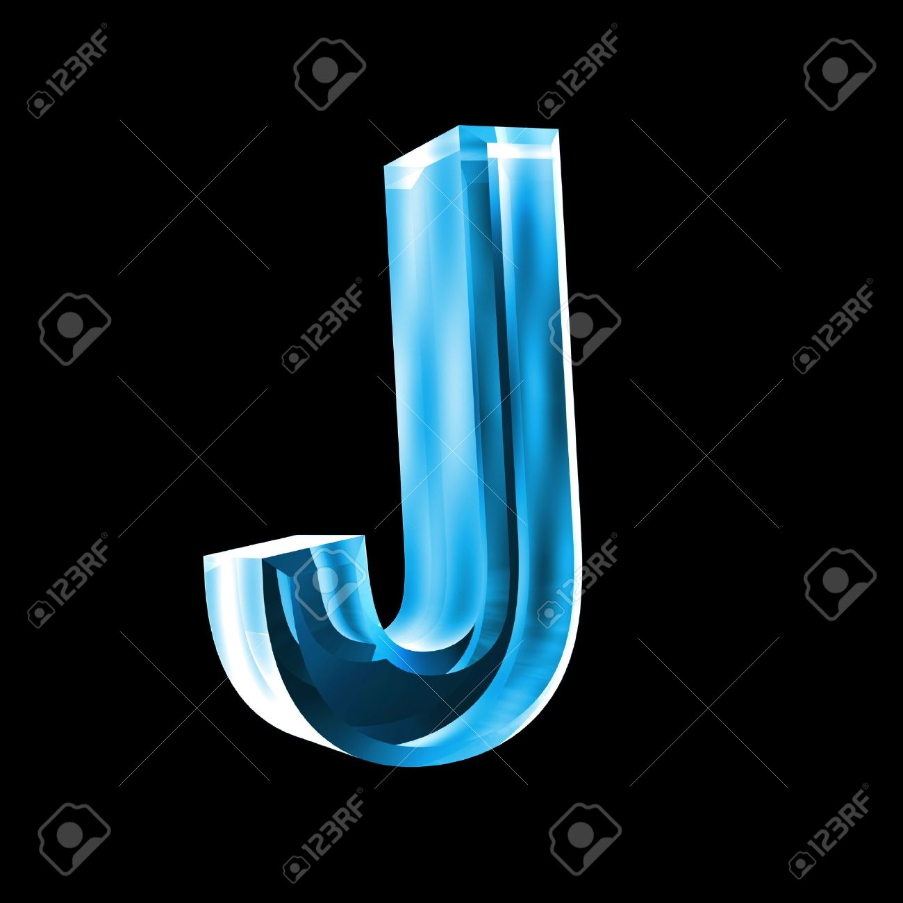 letter J in blue glass 3D Stock Photo - 6456021