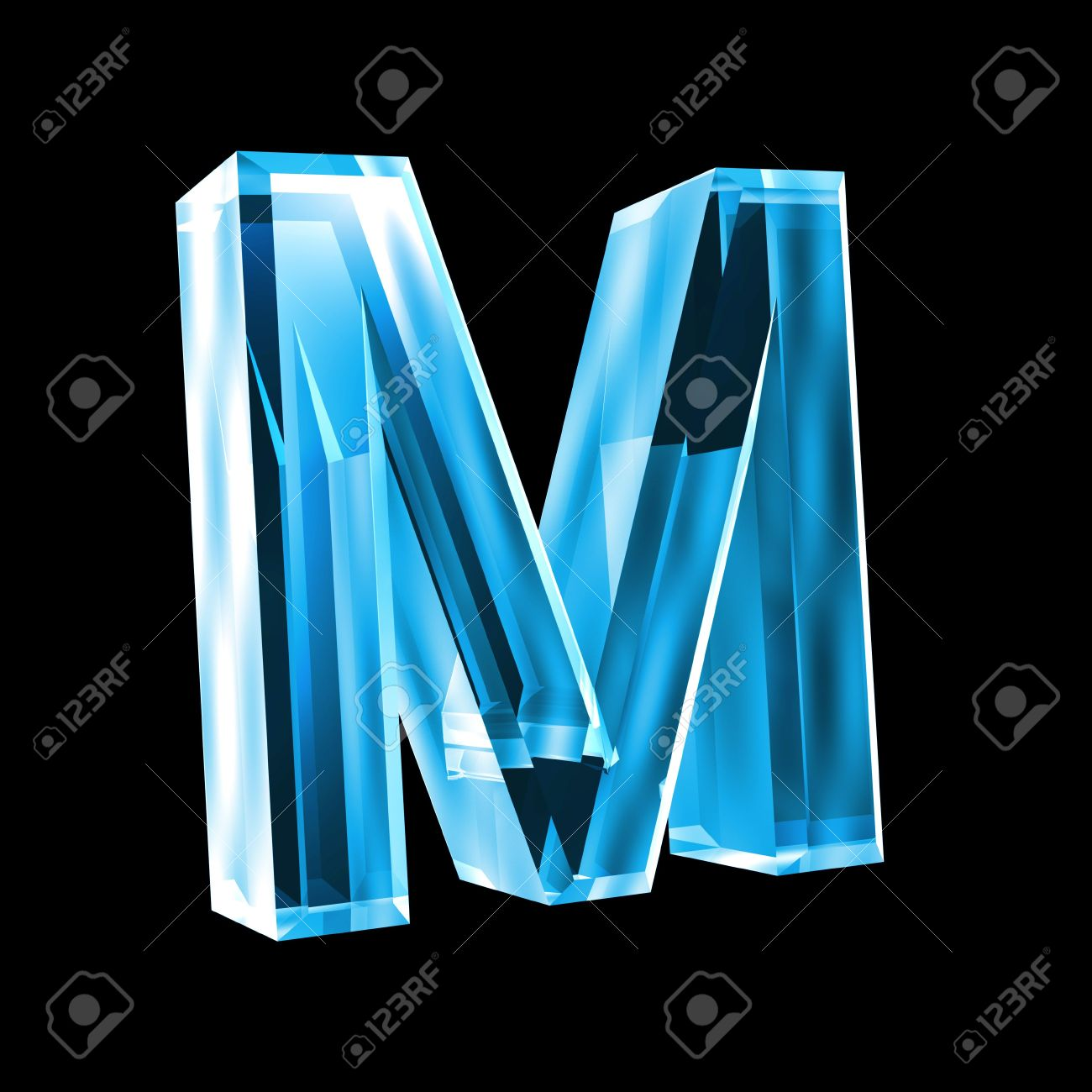letter M in blue glass 3D Stock Photo - 6456022