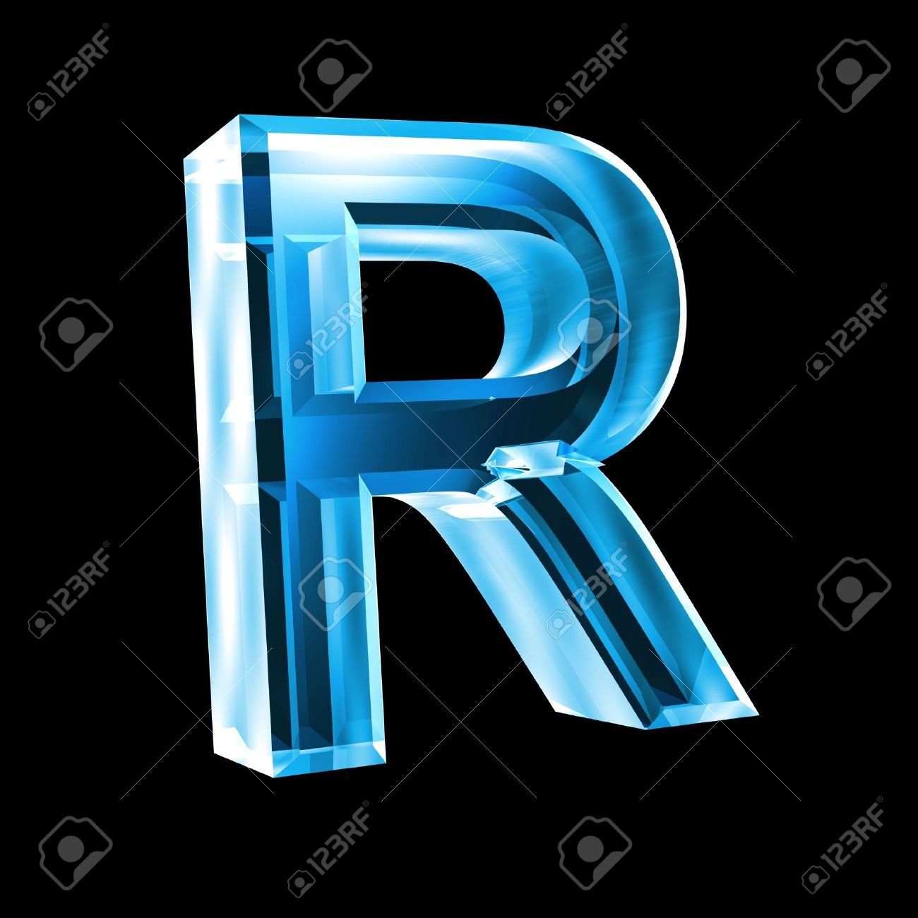 letter R in blue glass 3D Stock Photo - 6456038