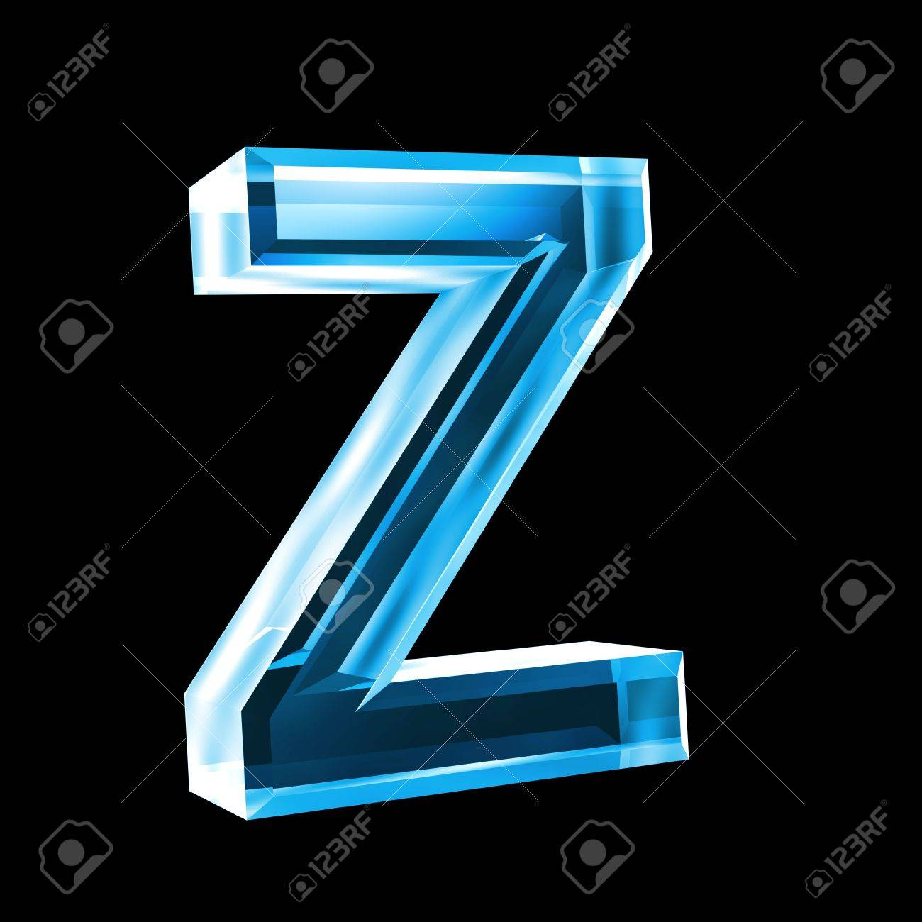 letter z in blue glass 3D Stock Photo - 6456018