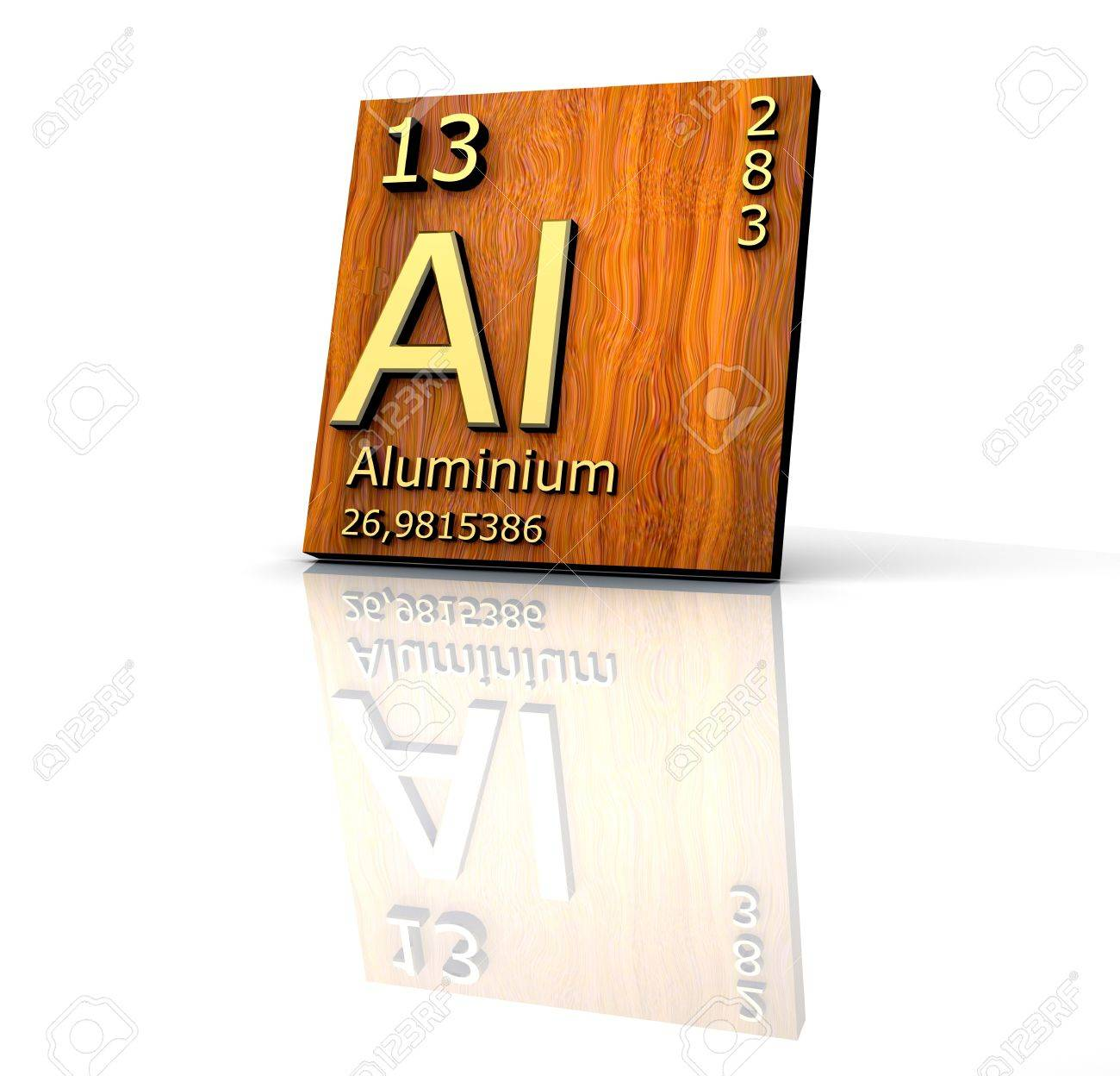 Aluminum form Periodic Table of Elements - wood board Stock Photo - 6973565