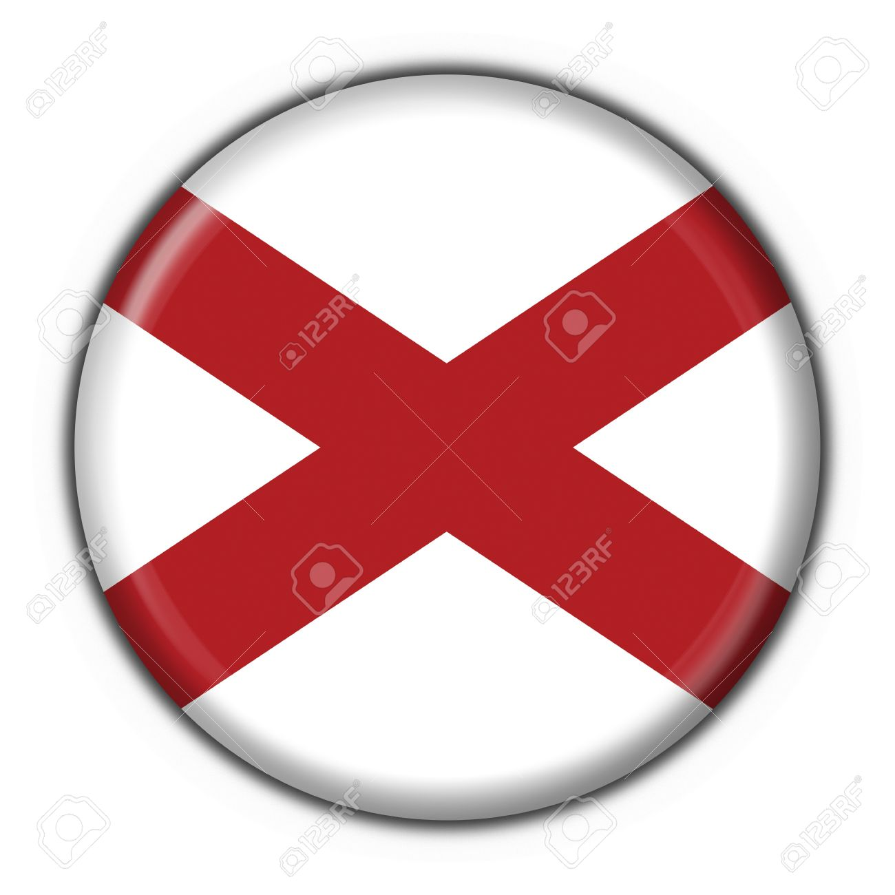 Alabama (USA State) button flag round shape  - 3d made Stock Photo - 7099035