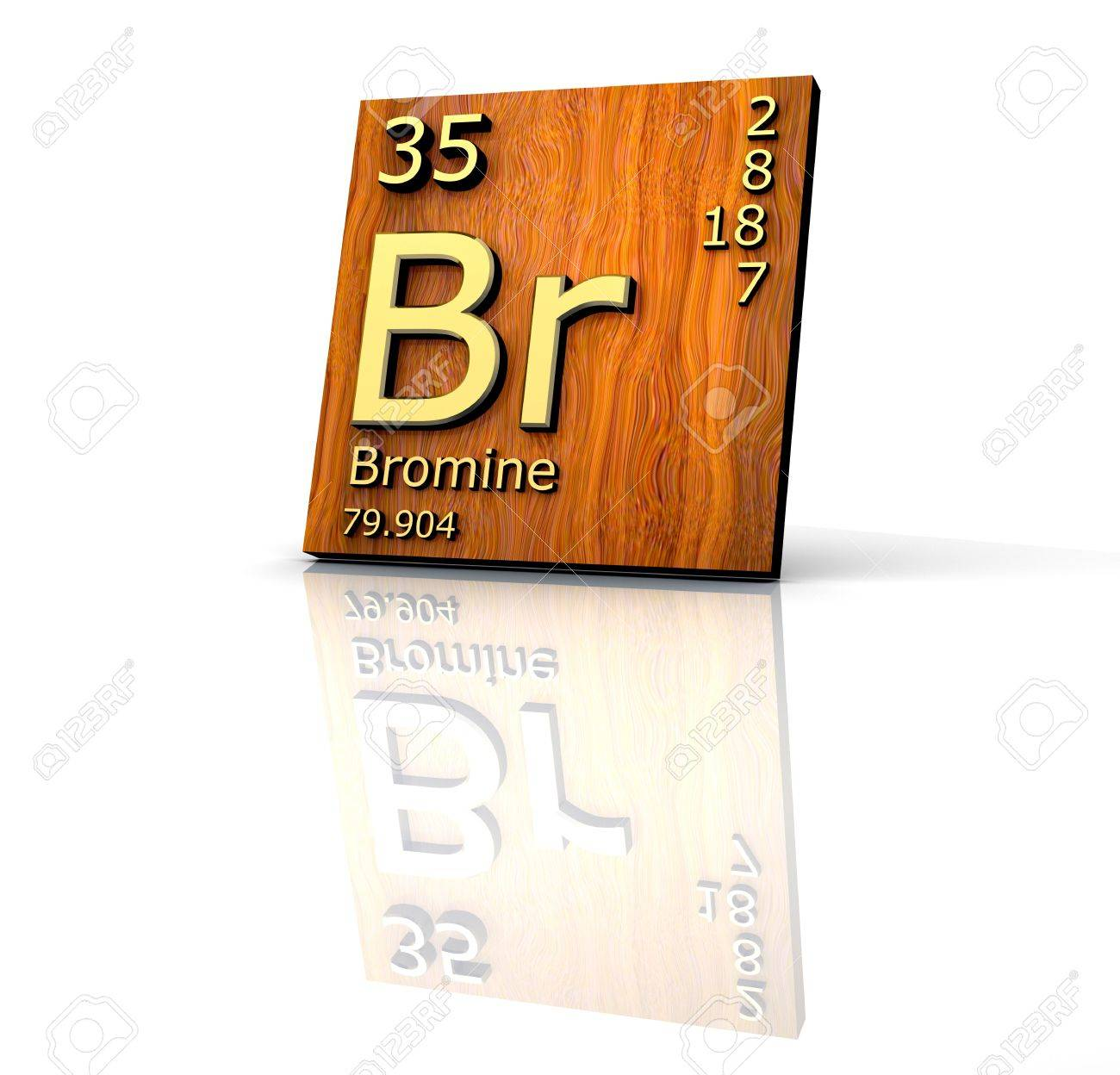 Bromine form Periodic Table of Elements - wood board - 3d made Stock Photo - 7119587