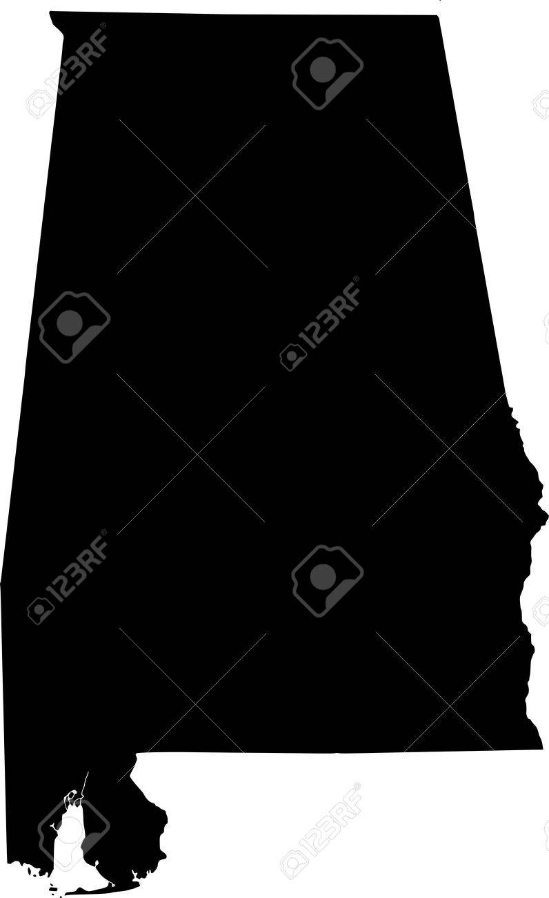 Black Map Of Alabama USA State Royalty Free Cliparts Vectors - Usa map black