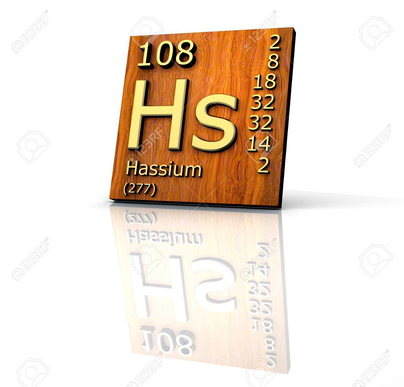 Hassium Periodic Table of Elements - wood board - 3d made Stock Photo - 7481492