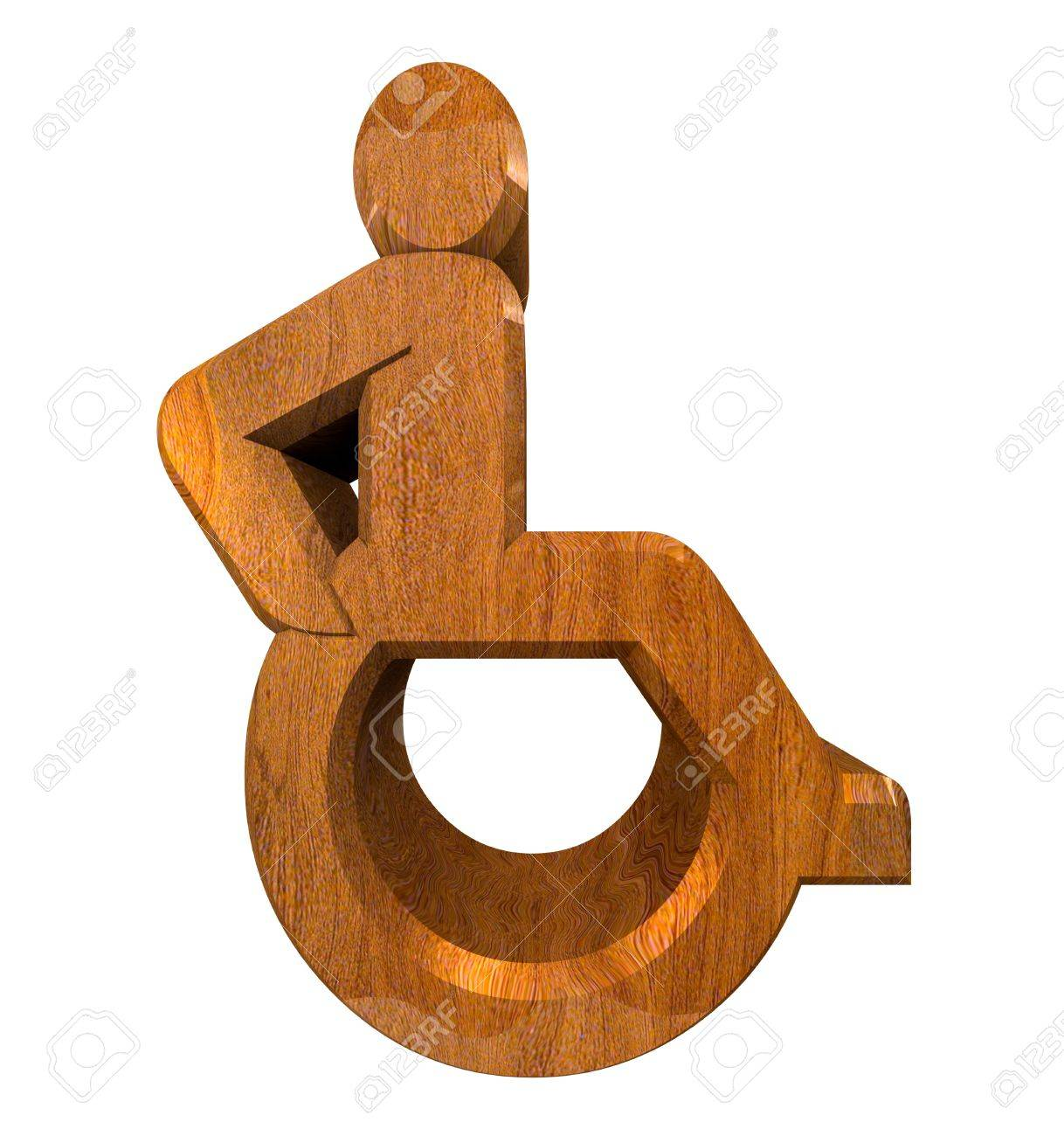 Universal wheelchair symbol in wood (3d made) Stock Photo - 7698088