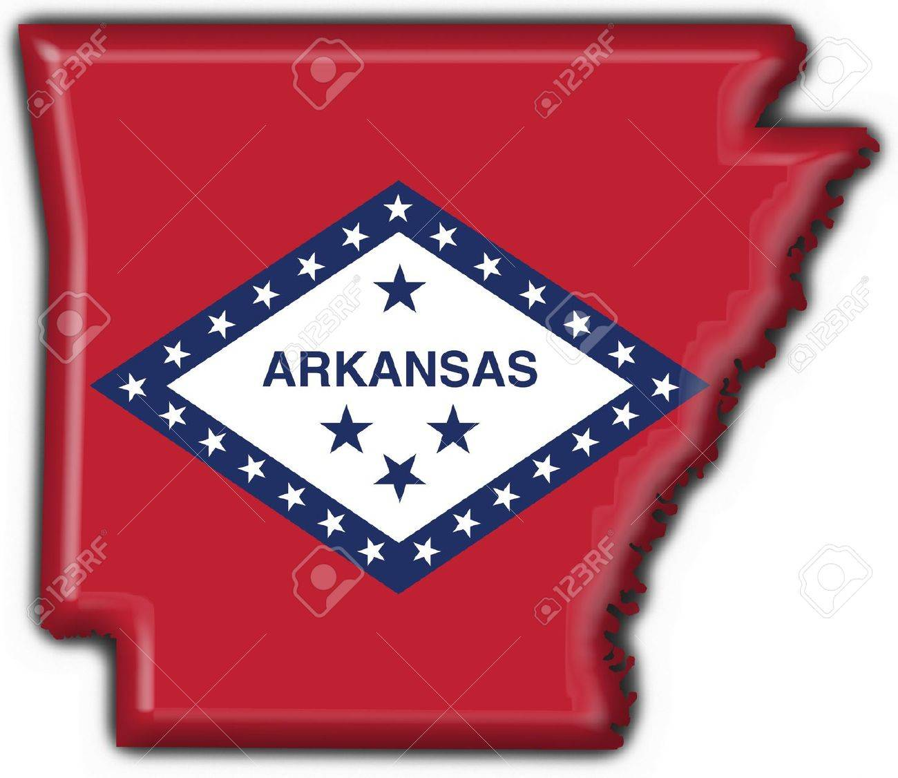 Us States Arkansas Usa State Button Flag Map Shape 3d Made Stock