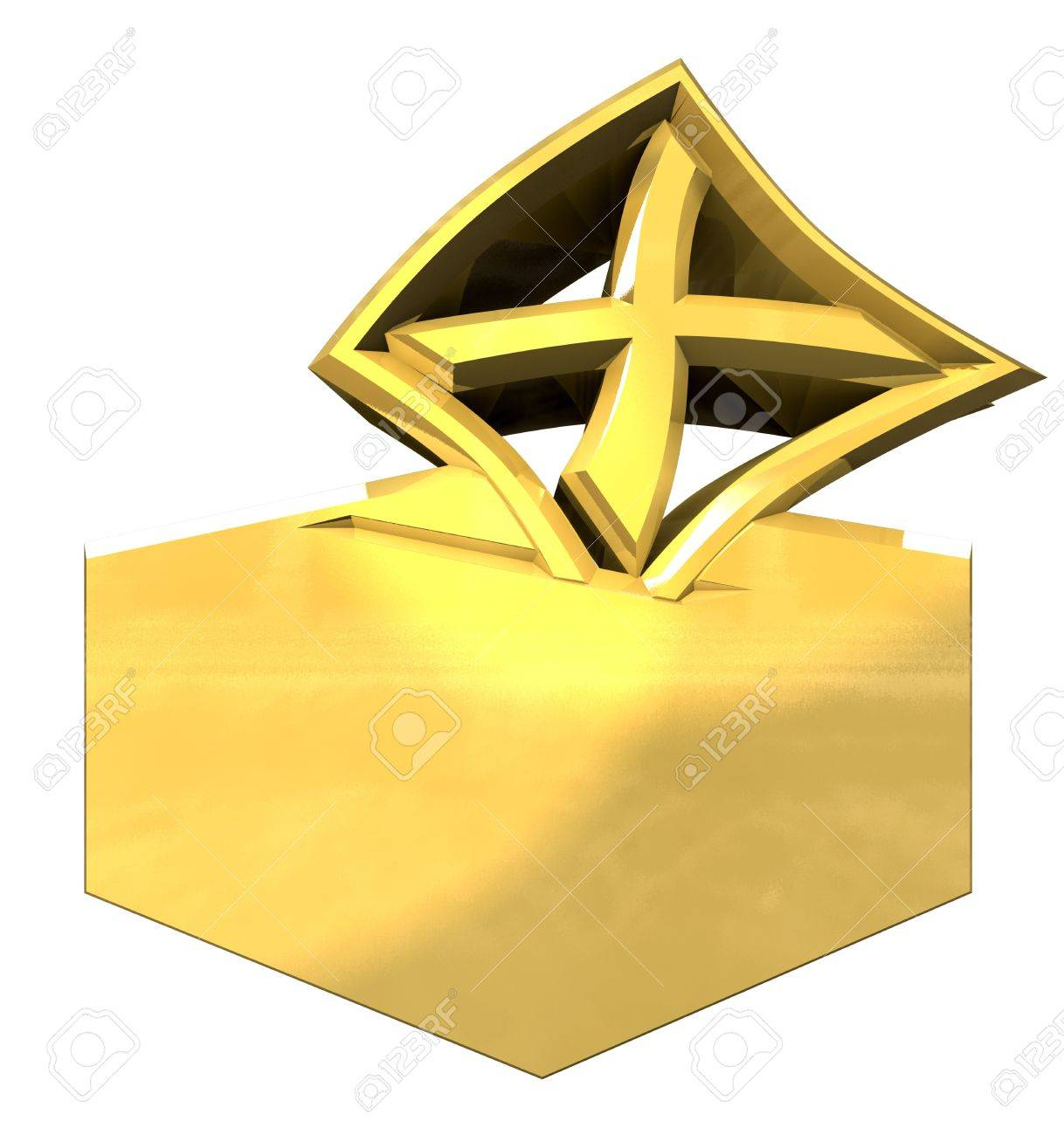 Symbol of placing a voting slip into a ballot box over a white background Stock Photo - 8574651