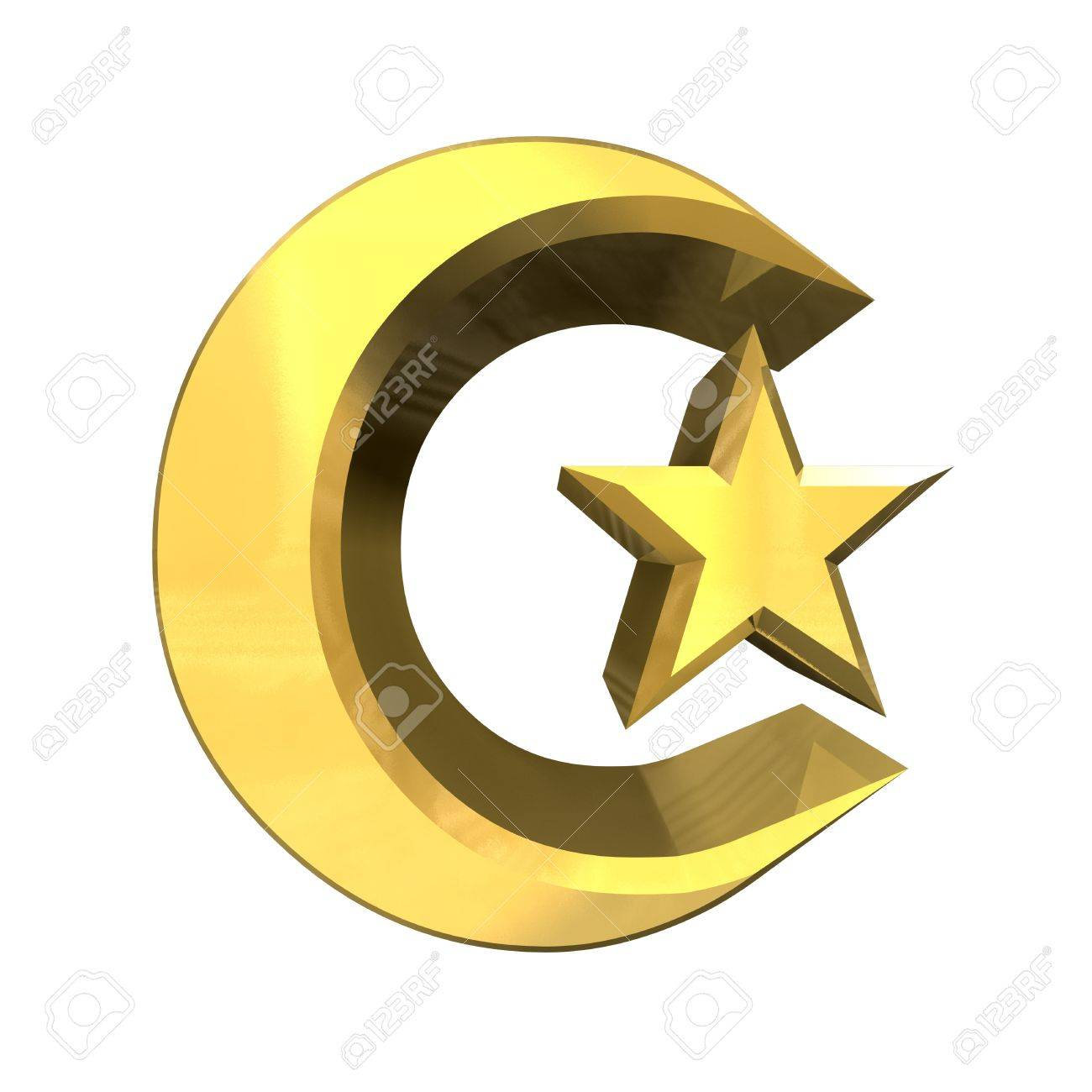 3D made - Moon & Star Signs in gold Stock Photo - 8955325