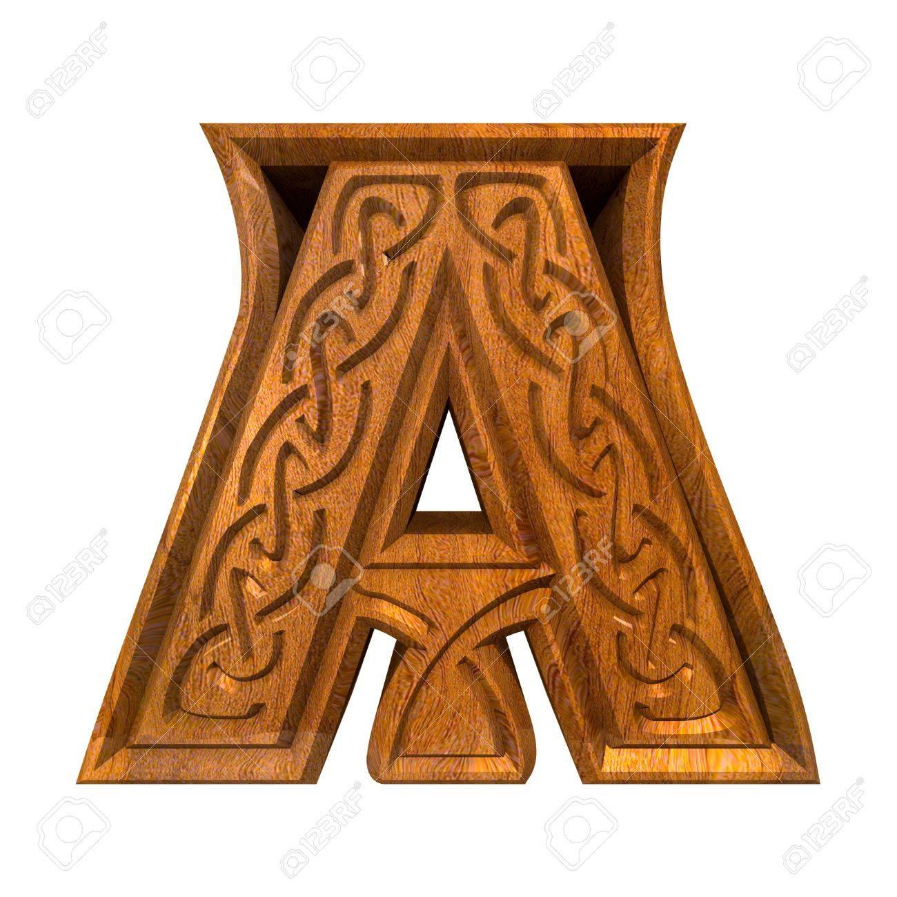 3d made - illustration of Celtic alphabet letter A Stock Illustration - 9293669