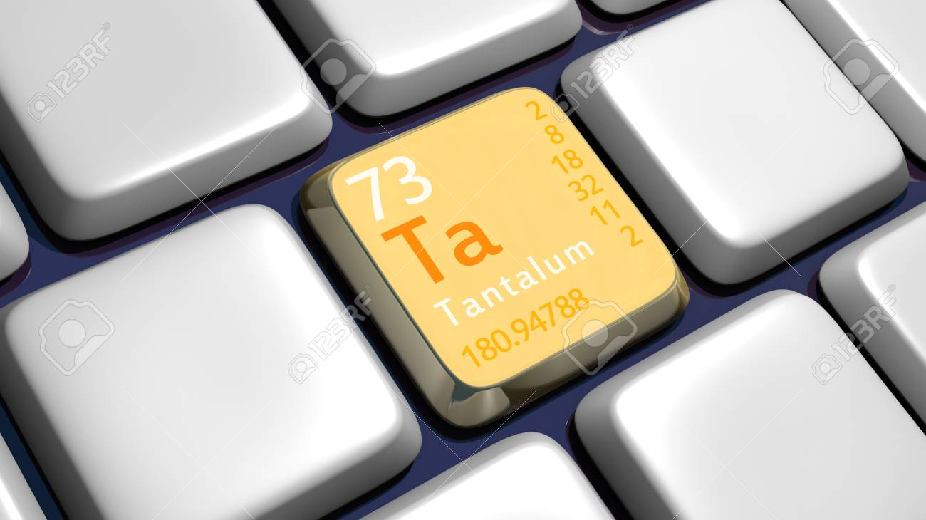 Keyboard (detail) with Tantalum element - 3d made Stock Photo - 11174520