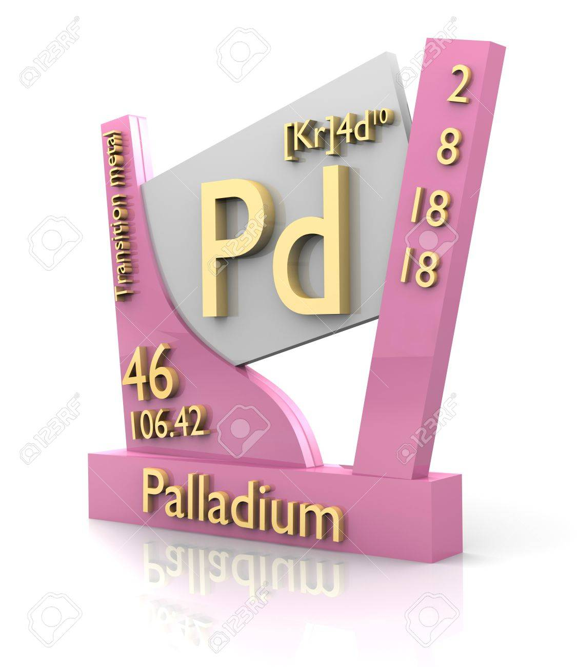 Palladium Form Periodic Table Of Elements 3d Made Stock Photo