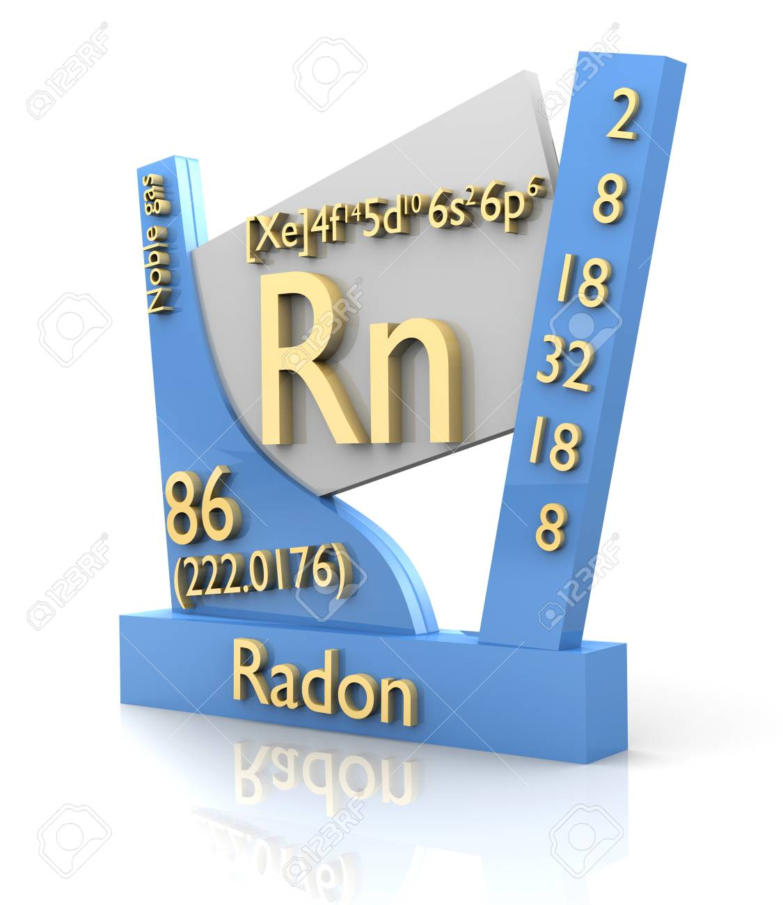 Radon form Periodic Table of Elements - 3d made Stock Photo - 11884381