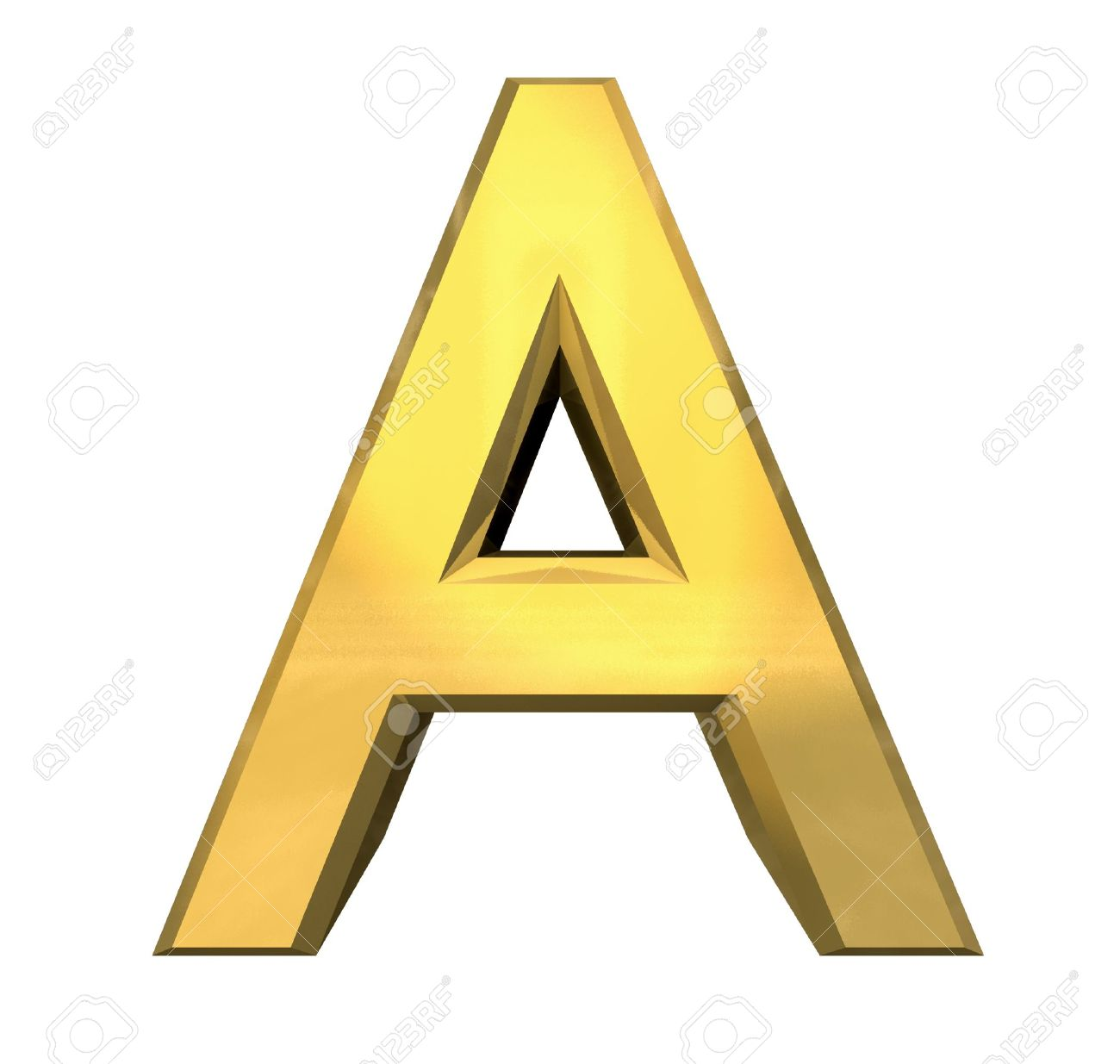 gold 3d letter A - 3d made Stock Photo - 14629957