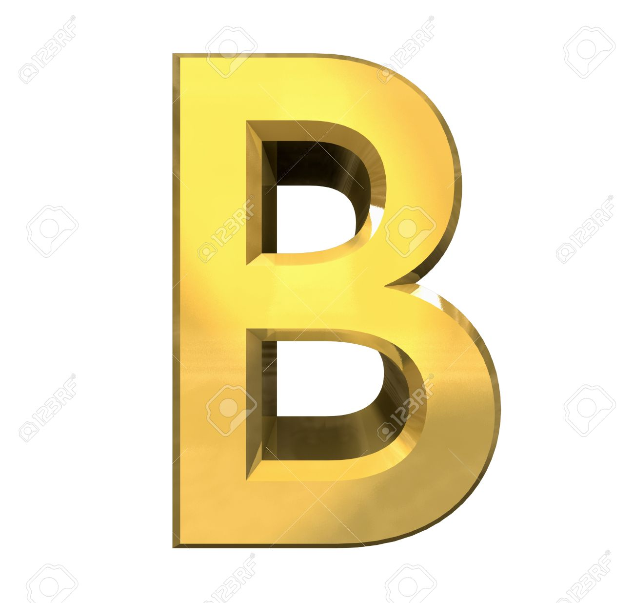 gold 3d letter B - 3d made Stock Photo - 14629964