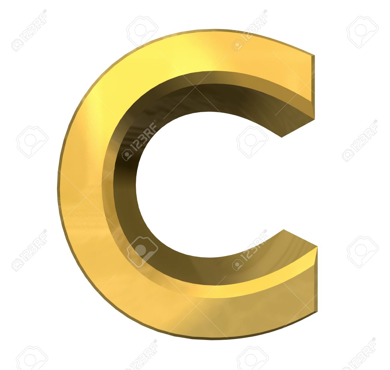 stock photo gold 3d letter c 3d made