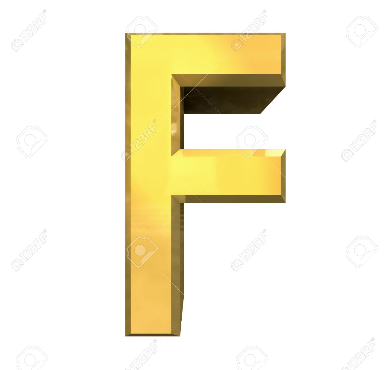 gold 3d letter F - 3d made Stock Photo - 14629950