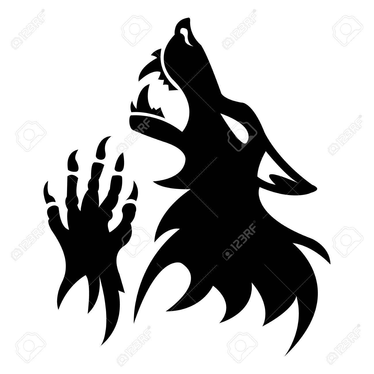 Vector werewolf stencil  Black tattoo  Fantesy graphic eps