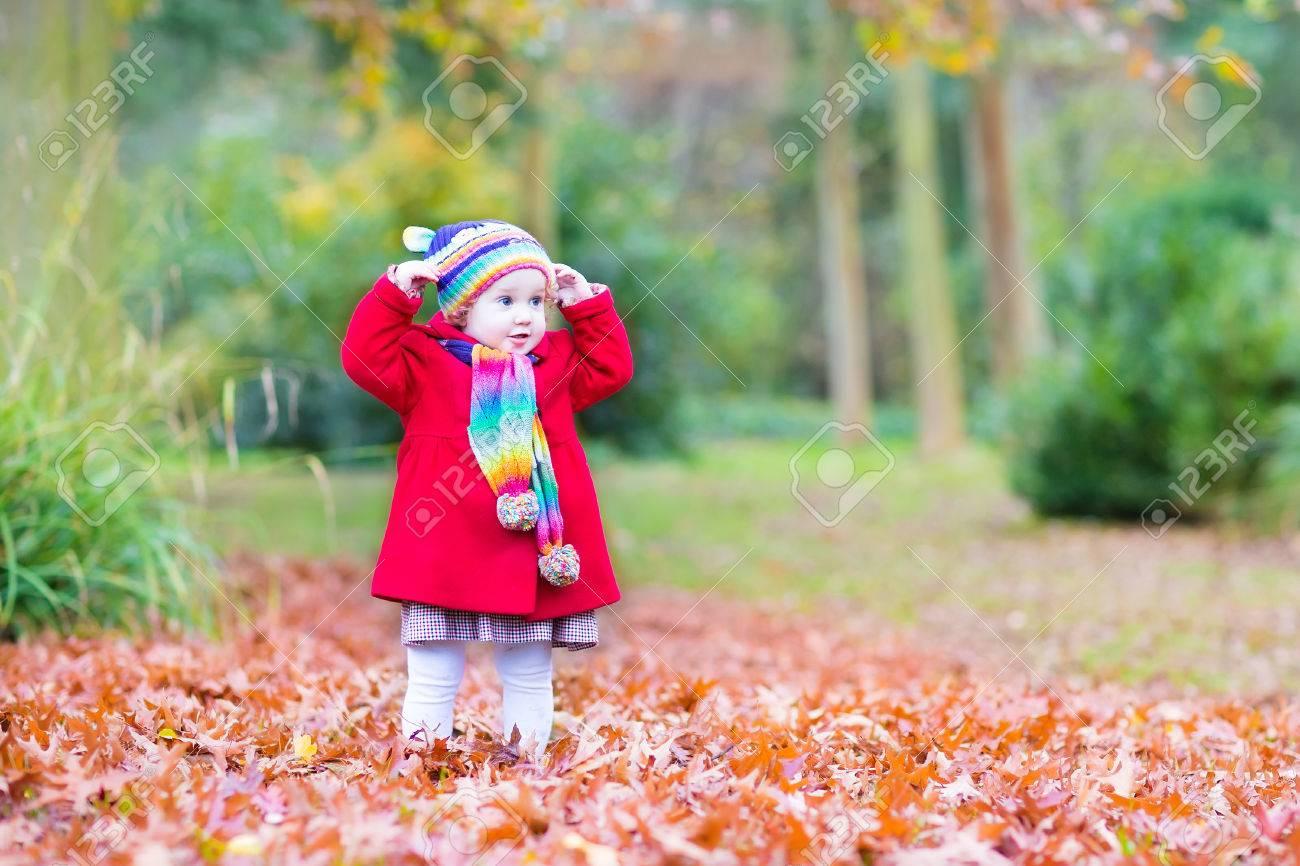 ... petite fille de bébé vêtu d un manteau chaud et coloré tricoté chapeau  et foulard jeu dans un magnifique parc de l automne avec des feuilles rouges e77b408d955