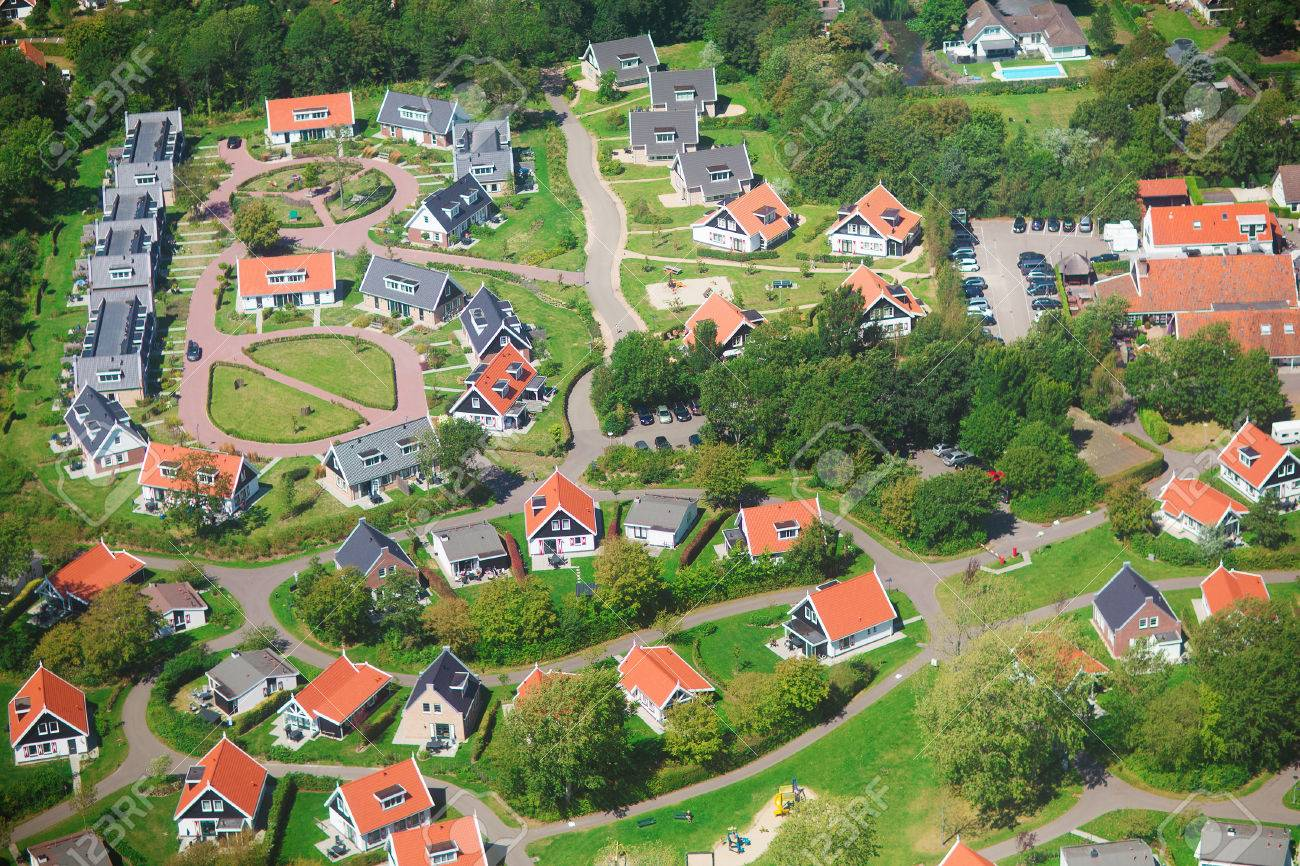 Aerial view of a residential community, village of Haamstede, Netherlands, photo taken from above during a helicopter from air - 30890031