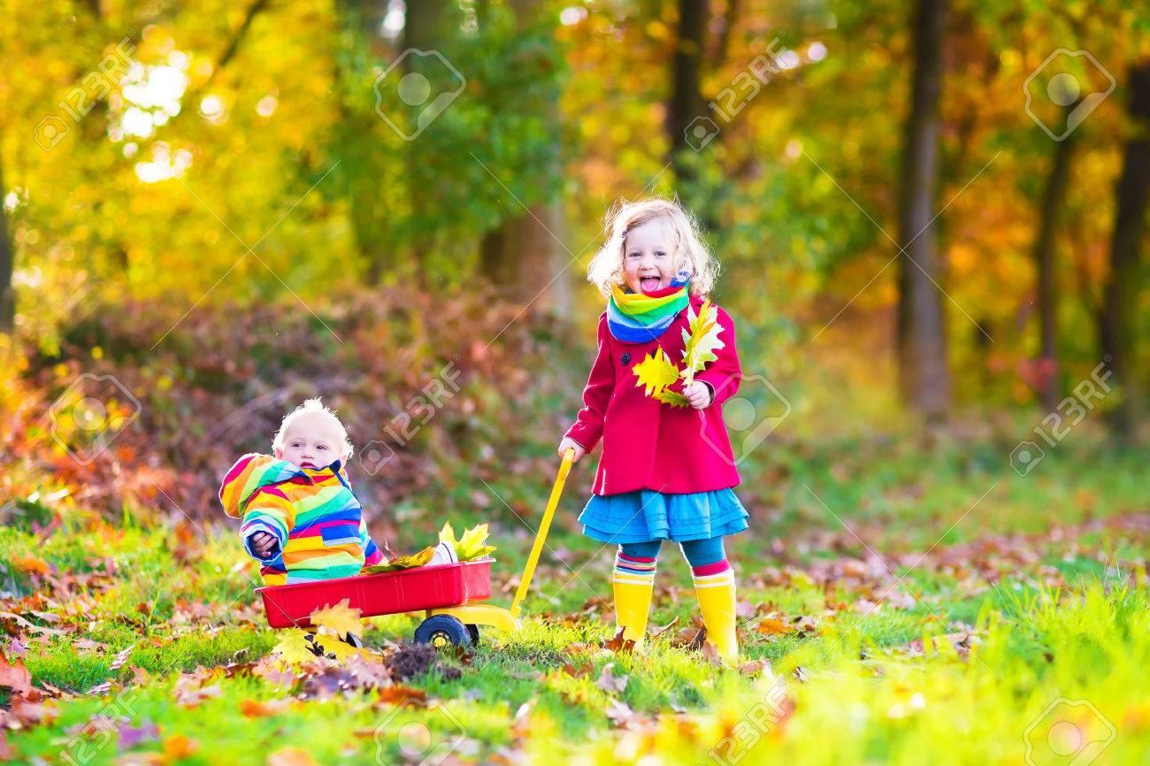 ... adorable fille de bébé et un bébé garçon drôle, frère et s ur, jouant  dans un parc d automne ensoleillée avec une brouette et feuilles colorées b8072ccf251