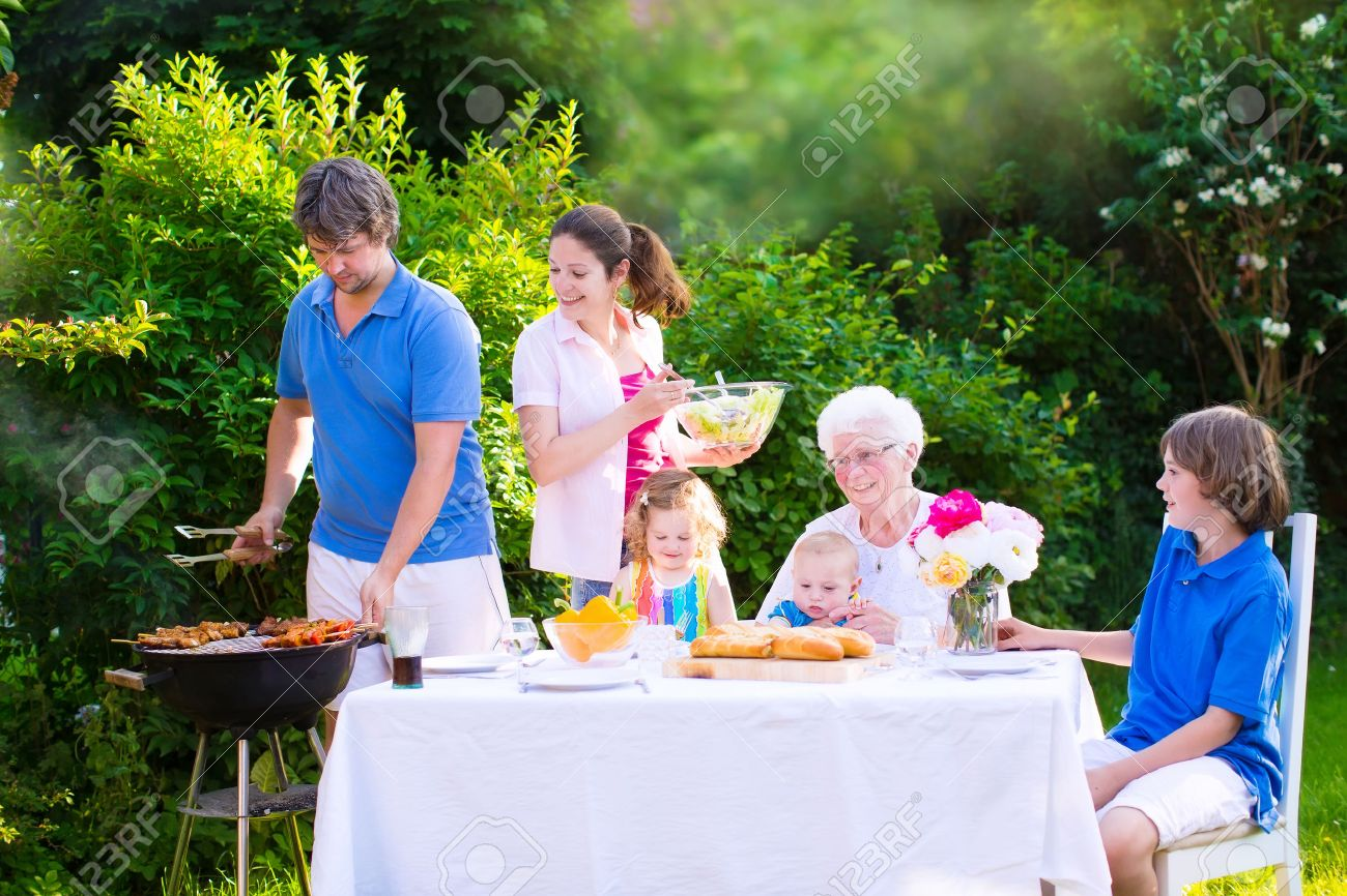 grill barbecue backyard party happy big family young mother