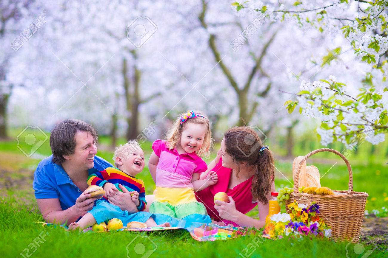 Young Family With Kids Having Picnic Outdoors. Parents With Two ...