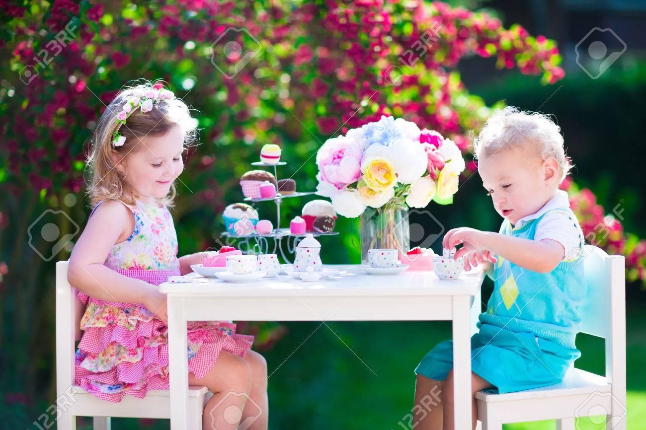 Tea Garden Party For Kids. Child Birthday Celebration. Little ...