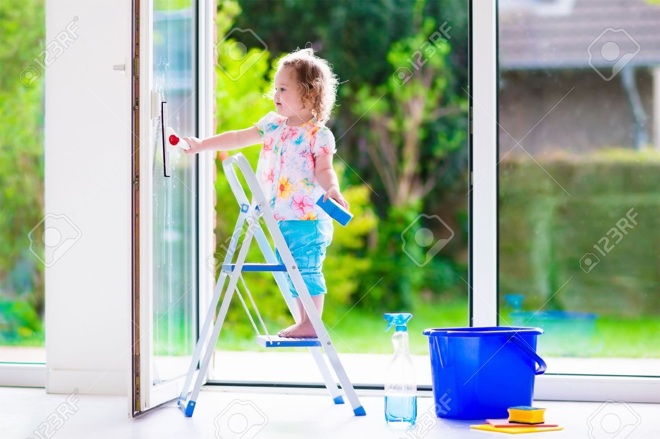 How to clean house windows - Little Girl Washing A Window Kids Clean The House Children Help At Home