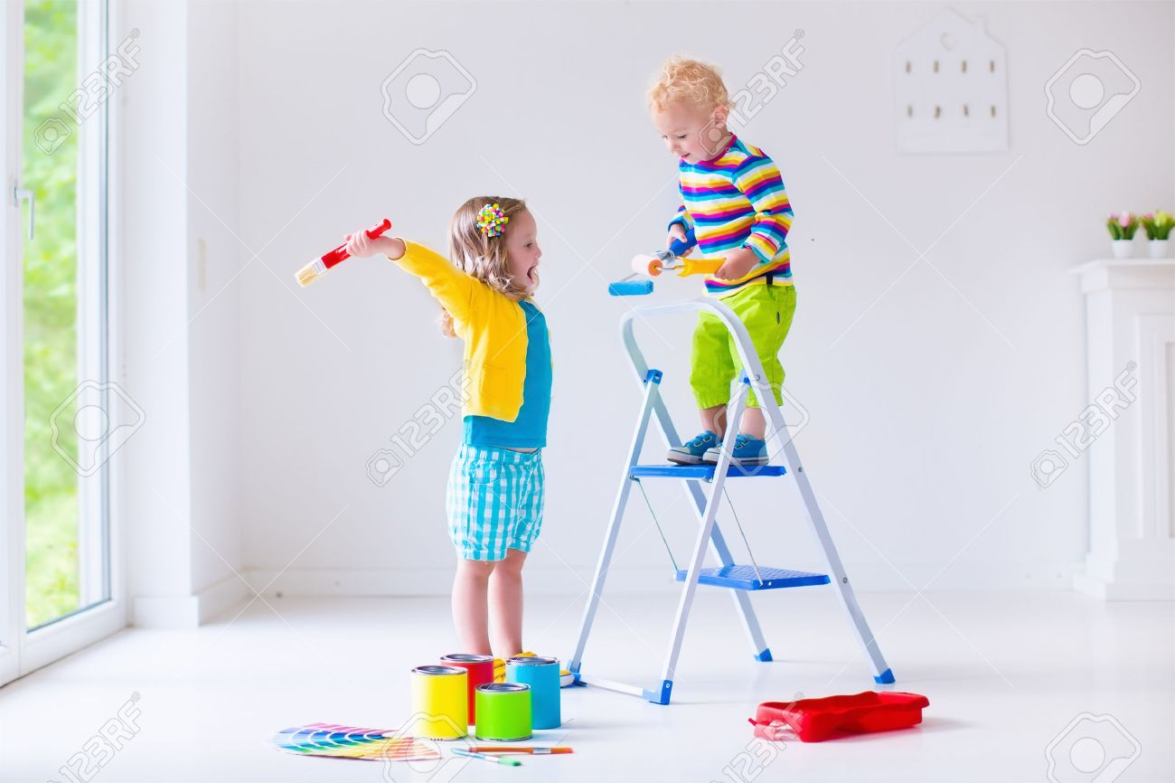 family remodeling house home remodel and renovation kids painting walls with colorful brush and - Home Remodel
