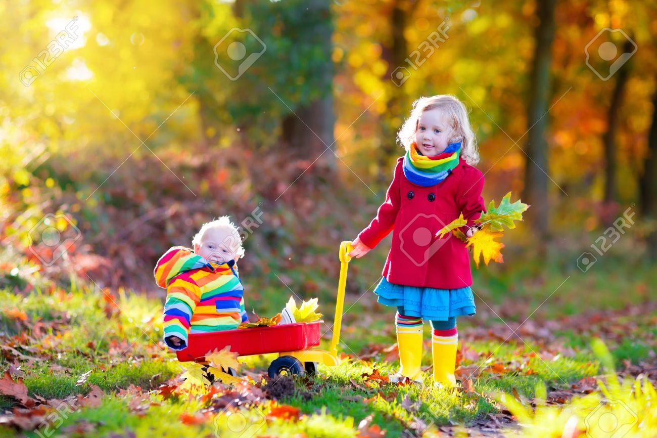 Frère Et Soeur Jouent Dans Le Parc De L automne Avec Des Feuilles D or. Baby  Boy Dans Une Brouette. Deux Enfants, Garçon Et Fille Marche Dans La Forêt  Sur ... 5a6304a108e