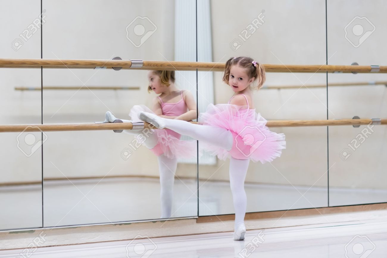 d274e31d3 Little Ballerina Girl In A Pink Tutu. Adorable Child Dancing.. Stock ...