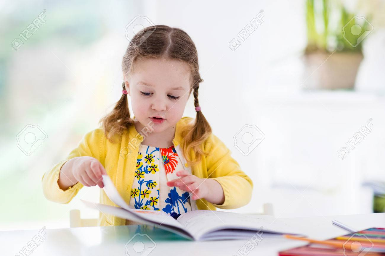 cute little girl doing homework reading a book coloring pages writing and painting - Kids Paint Book