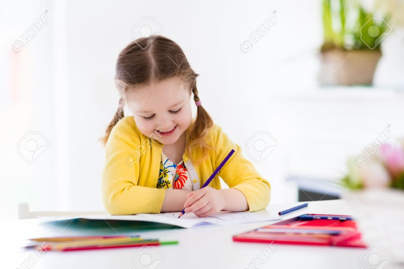 Cute Little Girl Doing Homework, Reading A Book, Coloring Pages ...