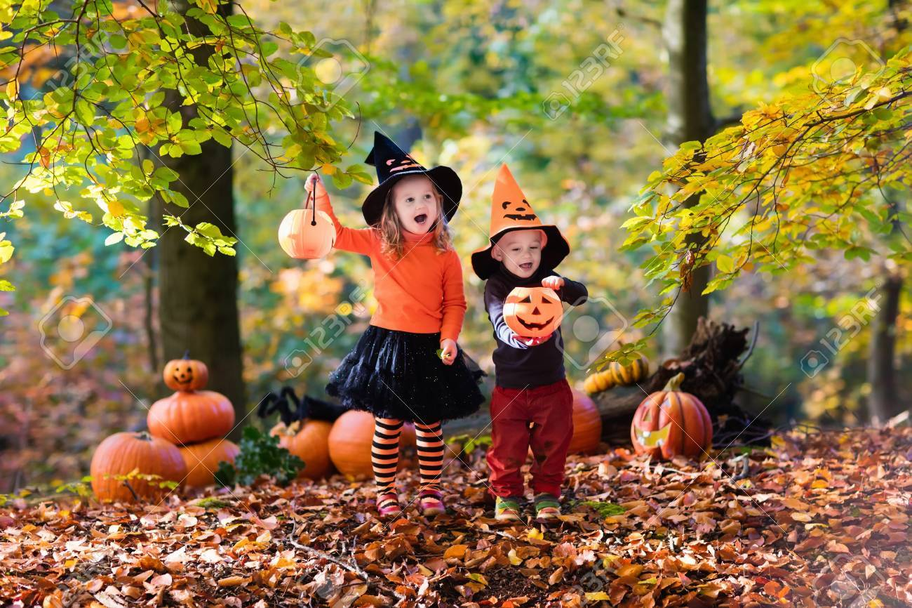 Children wearing black and orange witch costumes with hats playing with pumpkin and spider in autumn  sc 1 st  123RF.com & Children Wearing Black And Orange Witch Costumes With Hats Playing ...