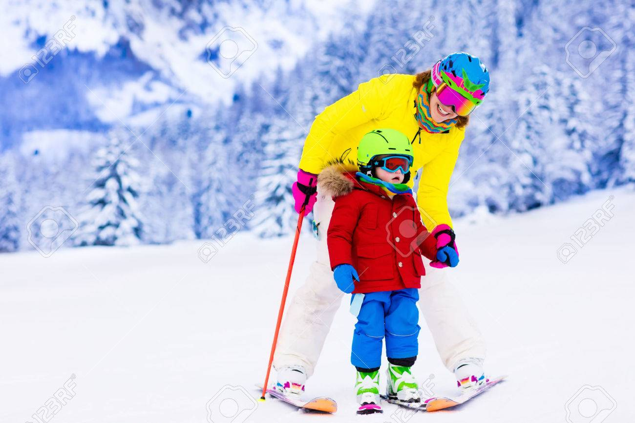 798f7fc7b12c Family Ski Vacation. Group Of Skiers In Swiss Alps Mountains ...