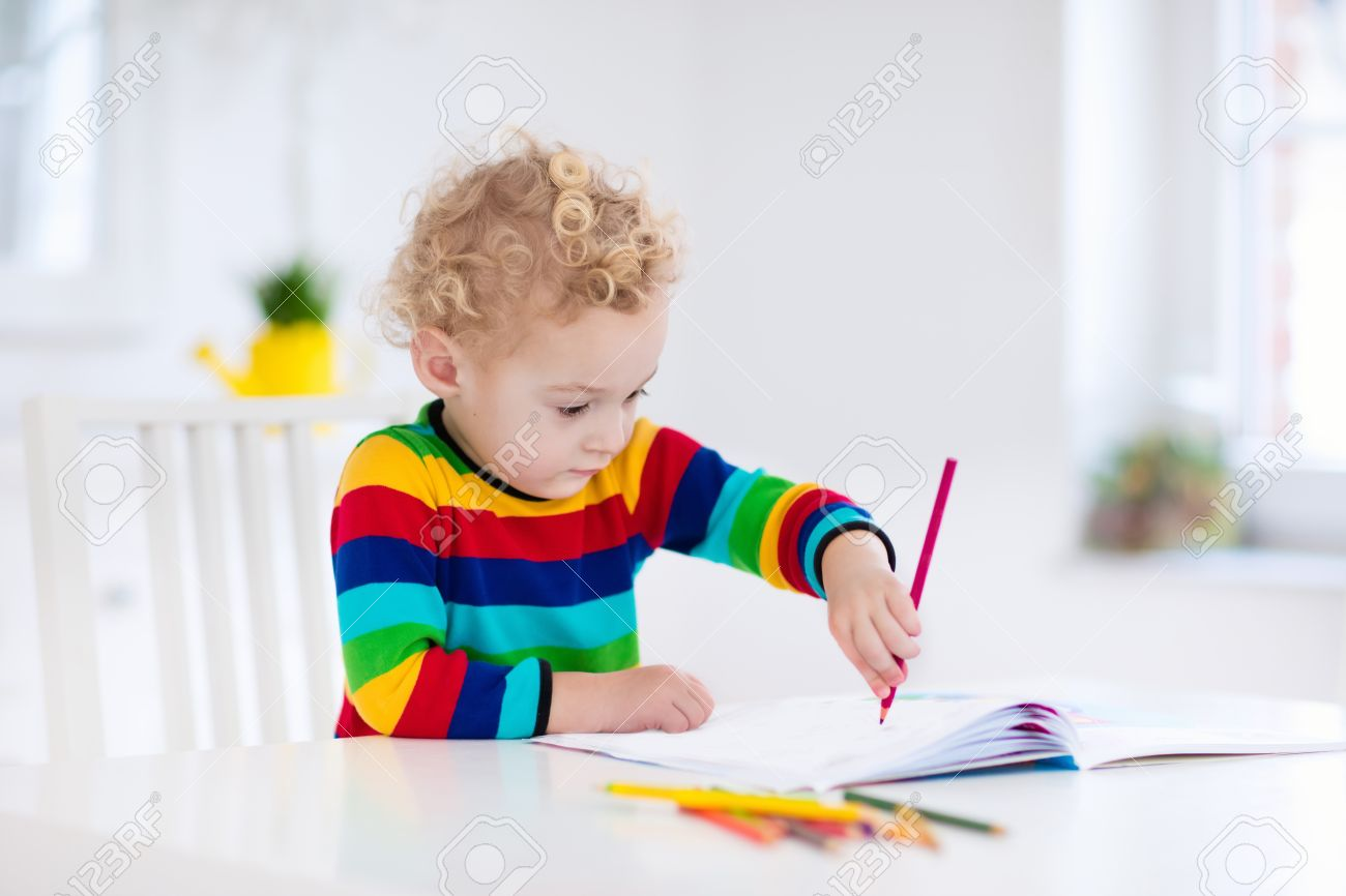 Cute Little Boy Doing Homework Reading A Book Coloring Pages Writing And Painting